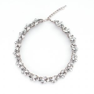Princess length rhinestone necklace.