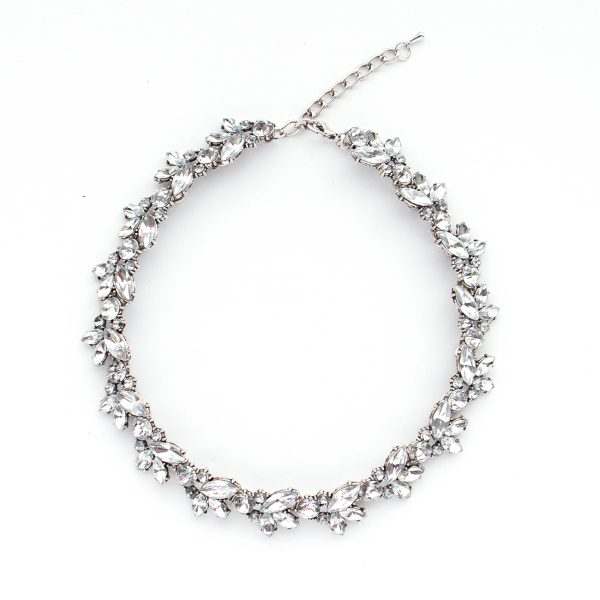 Princess length rhinestone necklace.