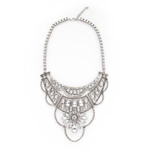 Silver and crystal oversized statement necklace