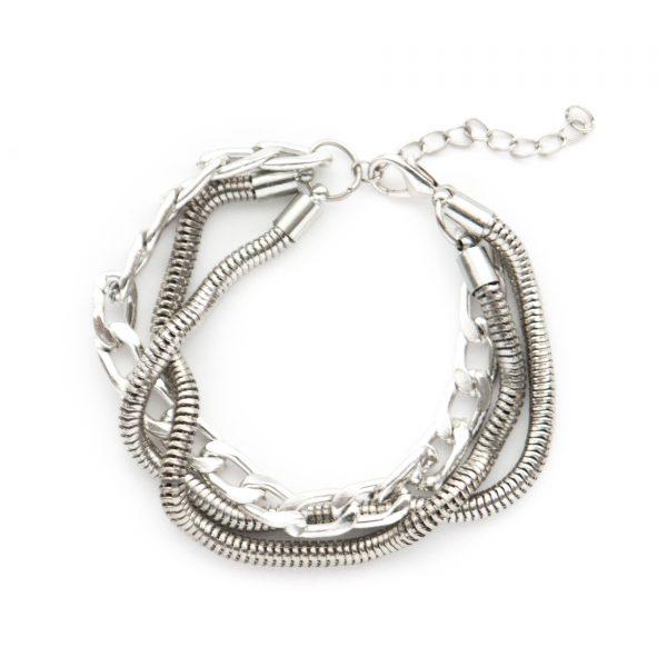 Harlow silver multi chain bracelet.