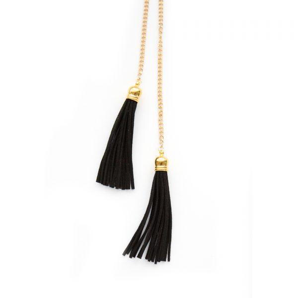 Gold tie tassel necklace