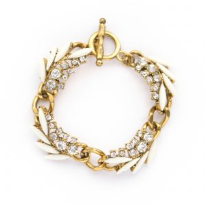 Gold and white statement bracelet