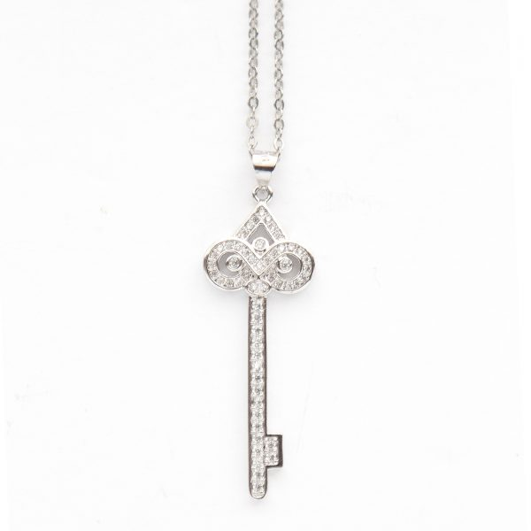 silver key to my heart necklace.