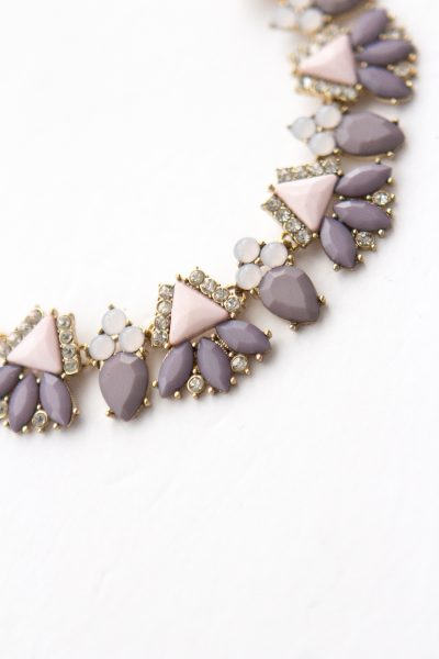 Blush, lavender and gold statement necklace.