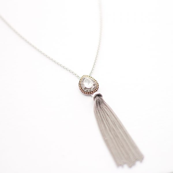 Silver tassel pendant necklace