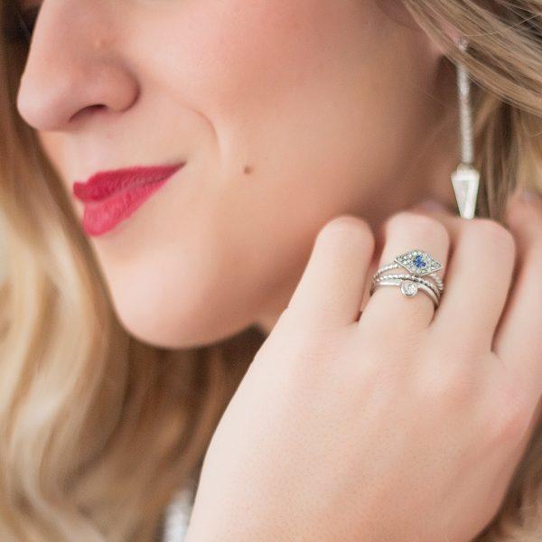 Triangle drop earrings.