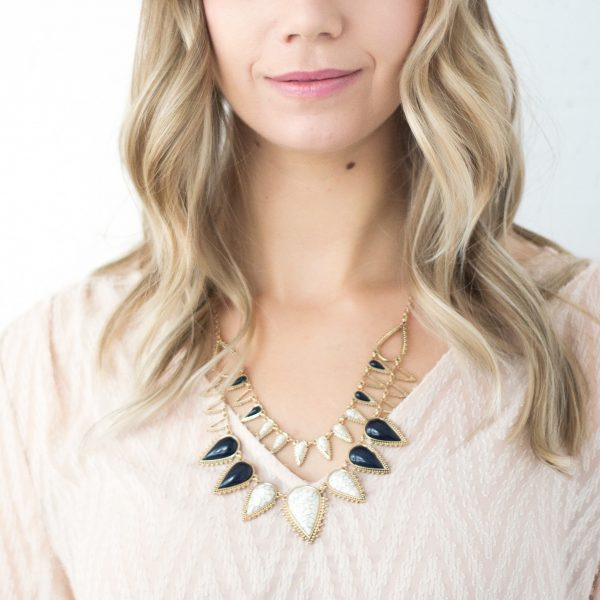Marble and gold statement necklace
