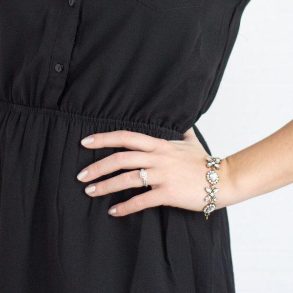 Crystal encrusted tennis bracelet.