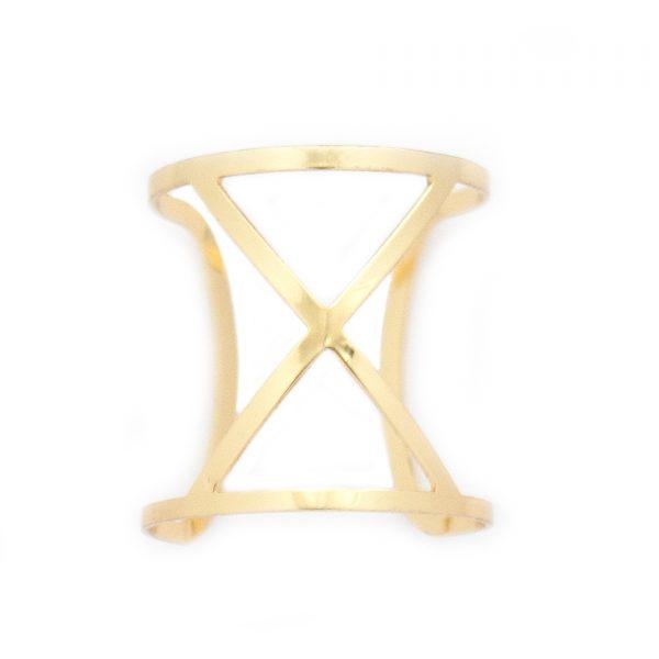 Gold cuffed x bracelet
