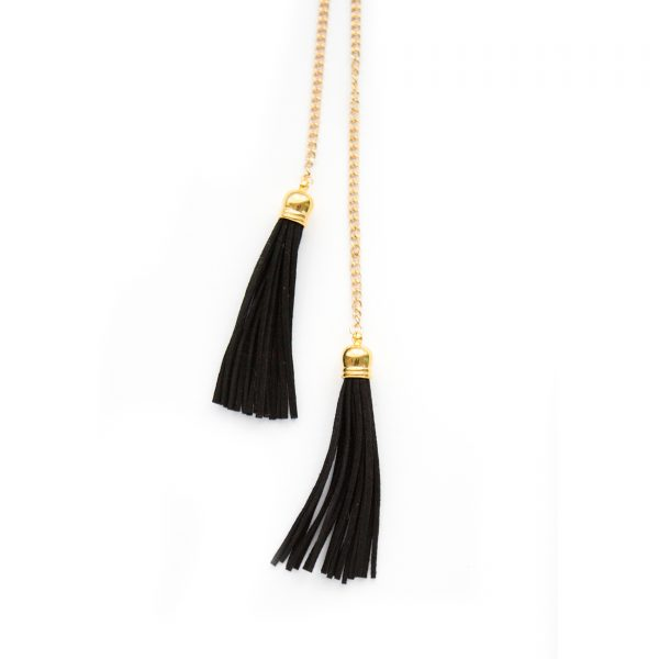 Gold tie tassel necklace