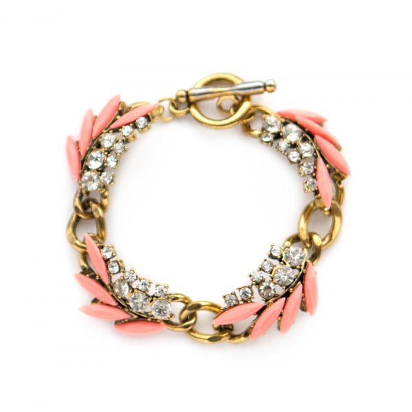 Pink and gold statement bracelet