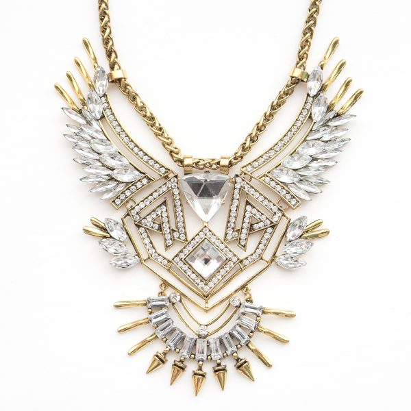 Aztec inspired gold boho statement necklace.
